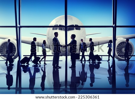 Business People Travel Handshake Airport Concept - stock photo