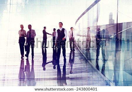 Business People Travel Walking Commuter Corporate Occupation Concept - stock photo
