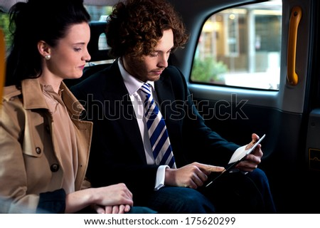 Business people traveling around the city - stock photo