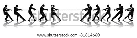 Business people tug of war competition concept. Business teams engaged in a rope pulling test contest. - stock photo
