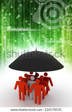 business people under an umbrella - stock photo