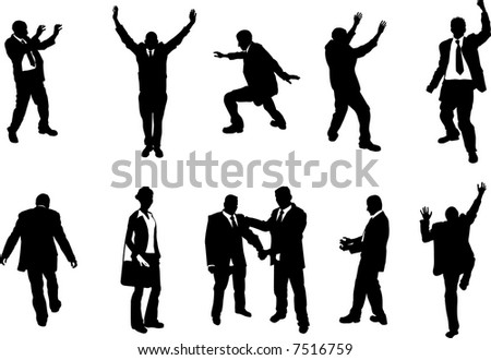 business people unusual silhouettes A series of business people mostly in more unusual poses, climbing, balancing etc. Great for use in conceptual pieces. Raster version. - stock photo