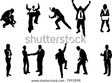 business people unusual silhouettes A series of business people mostly in more unusual poses, climbing, balancing etc. Great for use in conceptual pieces. Raster version - stock photo
