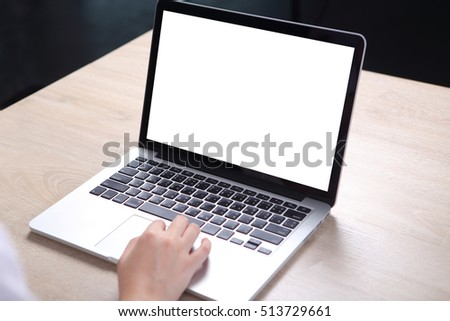 Business people using mock up laptop on wooden desk