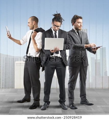 Business people very busy in a company - stock photo