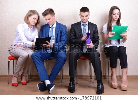 Business people waiting for job interview - stock photo
