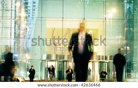 business people walk in the street - stock photo
