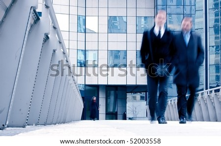 business people walk in the street-3 - stock photo