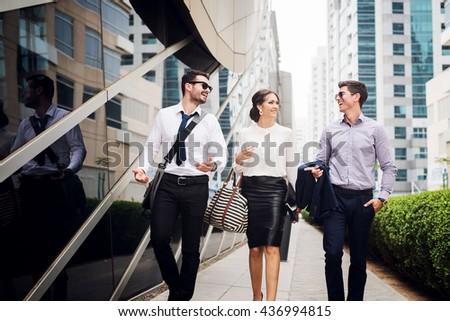 Business people walking. - stock photo