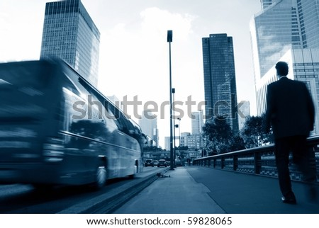 Business people walking along traffic and building center-2 - stock photo