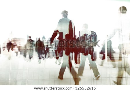 Business People Walking Cityscape Corporate Concept - stock photo