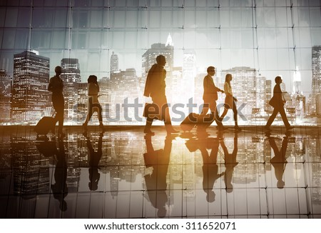Business People Walking Commuter Rush Hour Concept - stock photo
