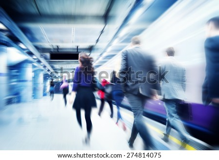 Business People Walking Commuter Travel Motion City Concept - stock photo