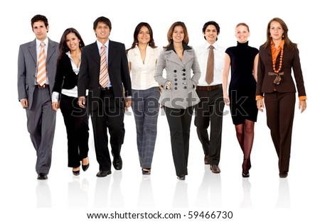 business people walking - isolated over a white background - stock photo