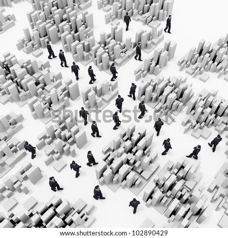 business people  walking on  white box background - stock photo