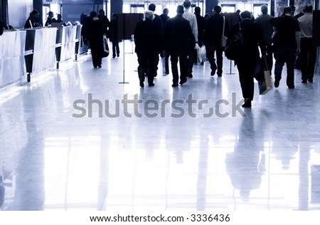 Business people walking. Specially with high contrast. - stock photo