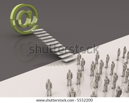 business people walking toward the email symbol