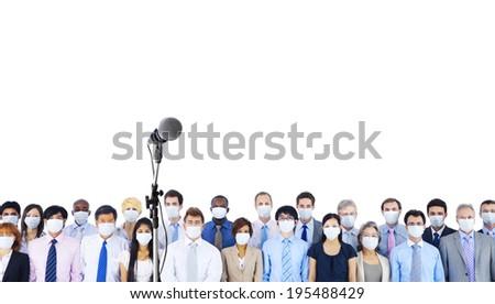 Business people wearing masks - stock photo