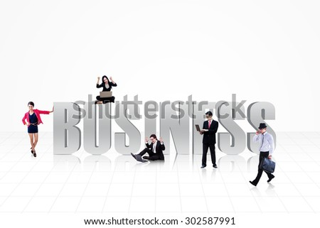 Business people with BUSINESS text isolated on white - stock photo