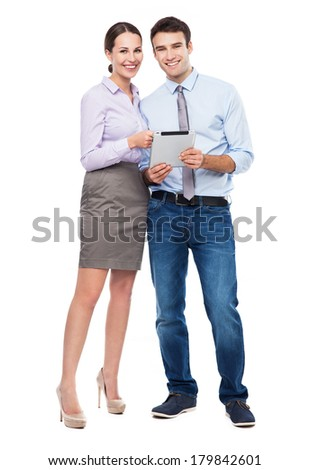 Business people with digital tablet  - stock photo