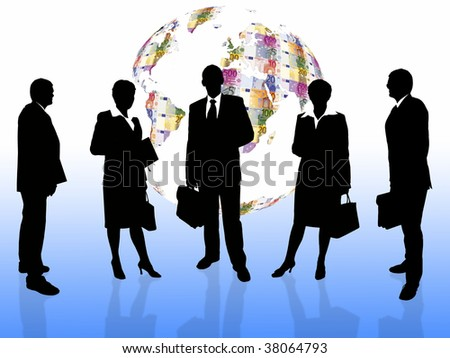business people with euro earth globe