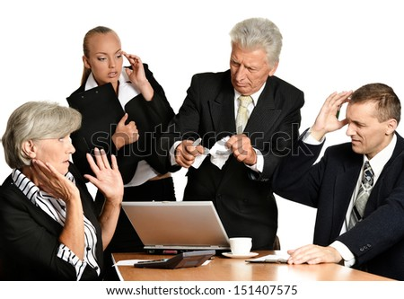 Business people with laptop - stock photo