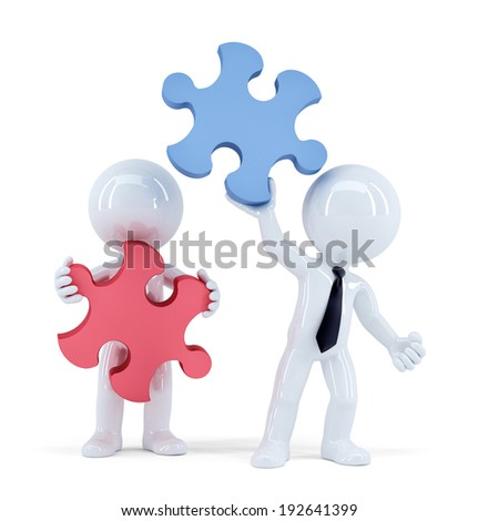 Business people with pieces of puzzle. Teamwork concept. Isolated. Contains clipping path - stock photo