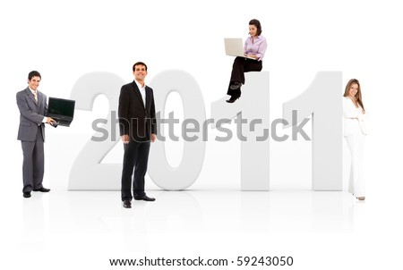 Business people with the year 2011 in 3D - isolated over white - stock photo