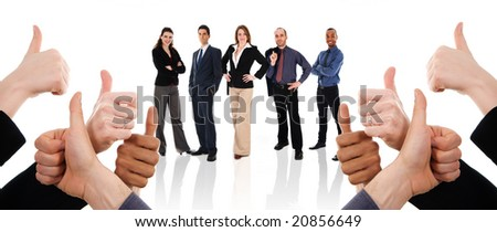 business people with their thumbs up in support - stock photo