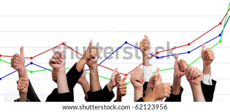 Business People with Thumbs Up Against Financial Growth Chart - stock photo