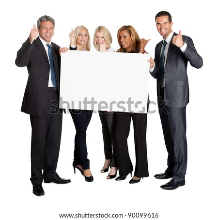 Business people with thumbs up holding blank board isolated on white background - stock photo