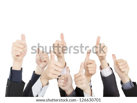 Business People with Thumbs Up isolated on White Background - stock photo