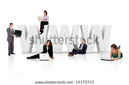 Business people with word WWW in 3D - isolated over a white background - stock photo