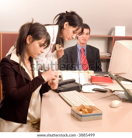 Business people work with documents in the meeting office