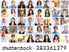 Business people workers faces collage. - stock photo