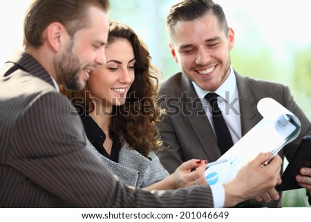 Business people working and discussing project at the meeting in the office - stock photo