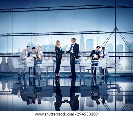 Business People Working Conference Room Agreement Teamwork Connection - stock photo