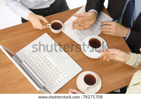 Business people working, from above - stock photo