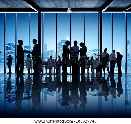 Business People Working in Conference Room in New York - stock photo