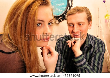 Business people working in office and having romance and fun - stock photo
