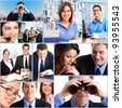 Business people working in the office. Collage. - stock photo