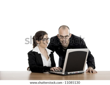 Business people working in the officeon a laptop - stock photo