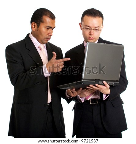 business people working on a laptop computer isolated over a white background