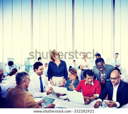Business People Working Teamwork Cooperation Conference - stock photo