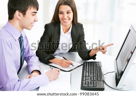 Business people working with computer - stock photo