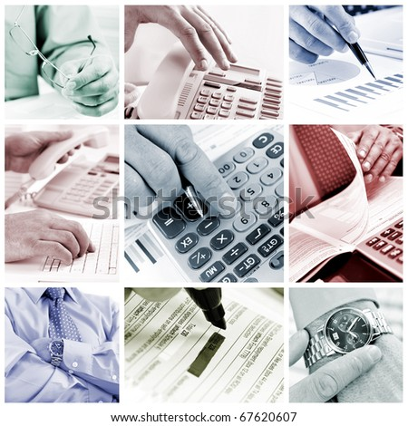 Business people working with documents and calculator - stock photo