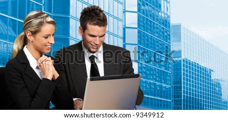 business people working with laptop. - stock photo