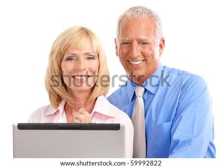 Business people working with laptop. Isolated over white background - stock photo