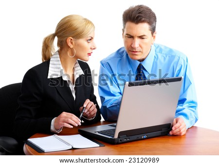 business people working with laptop. Over white background