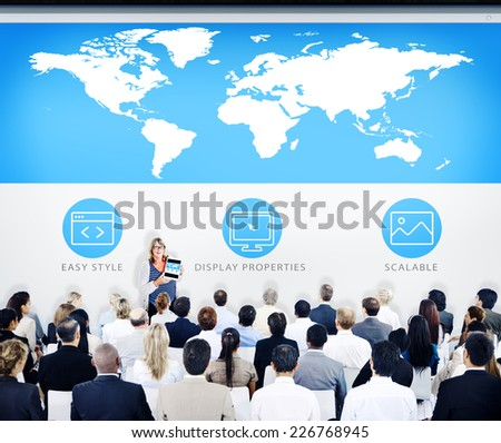 Business People World Map Design Presentation Concept - stock photo